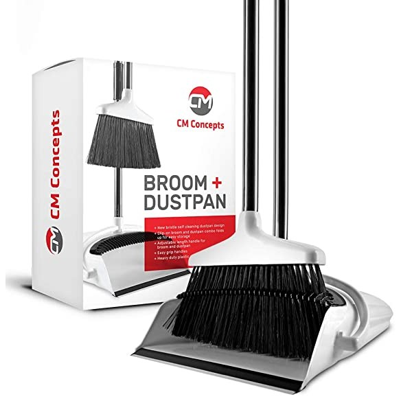 Broom and Dustpan Set with Self Cleaning Bristles