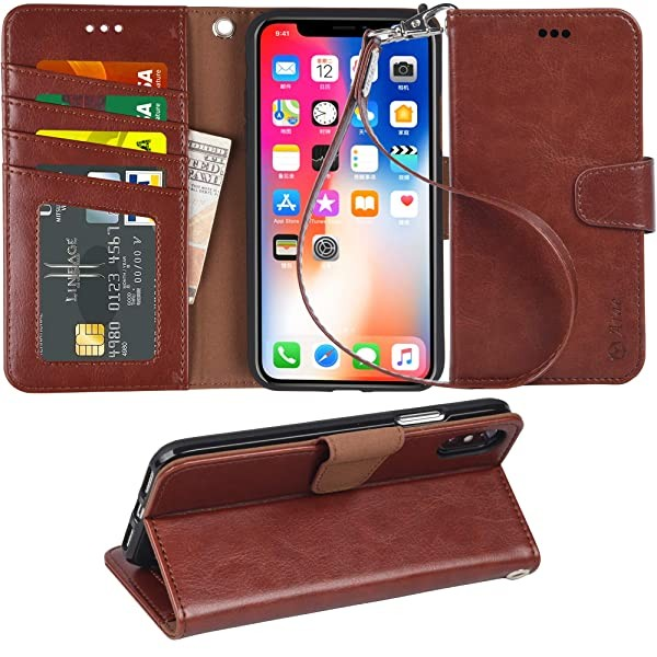 Arae Case for iPhone X/Xs Premium PU Leather Walle