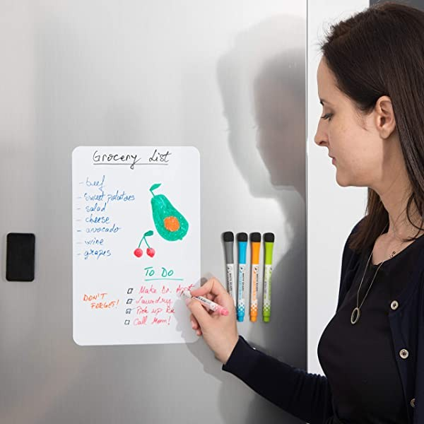 Small Magnetic Dry Erase Board for Fridge 12x8 inc