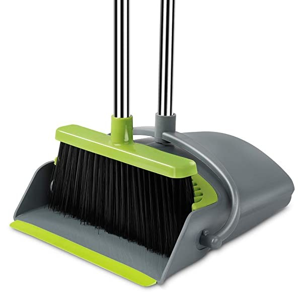 Been5le Extendable Broom and Dustpan Set Self-Clea