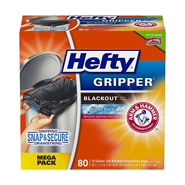 Hefty Gripper Tall Kitchen Blackout Trash Bags Cle
