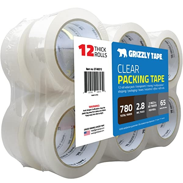 Grizzly Brand Clear Packing Tape Refill Rolls for